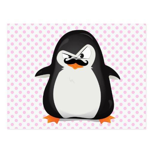 Niedlicher Schwarz-weißer Penguin und lustiger Postkarten