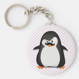 Niedlicher Schwarz-weißer Penguin und lustiger Sch Standard Runder Schlüsselanhänger