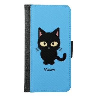 Niedlicher schwarze Katze Meow-Cartoon Geldbeutel Hülle Für Das Samsung Galaxy S6