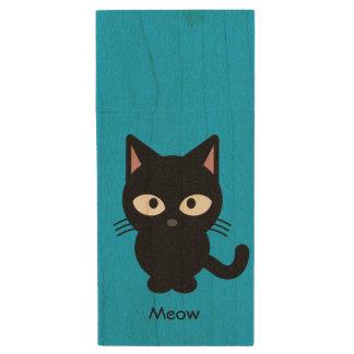 Niedlicher schwarze Katze Meow-Cartoon Holz USB Stick