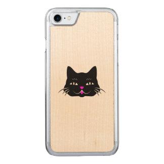 Niedlicher schwarze Katzen-Cartoon Carved iPhone 8/7 Hülle