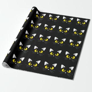 Niedlicher schwarze Katzen-Halloween-Geburtstag Geschenkpapier