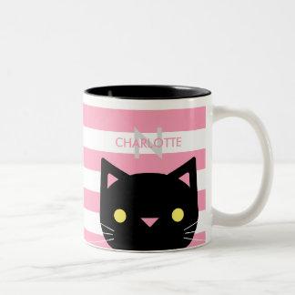 Niedlicher schwarze Katzen-individueller Name u. Zweifarbige Tasse