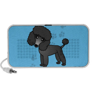 Niedlicher schwarzer Pudel-Cartoon-blauer Tatzen-D iPod Speaker