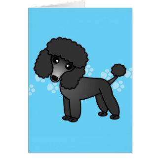 Niedlicher schwarzer Pudel-Cartoon Grußkarten