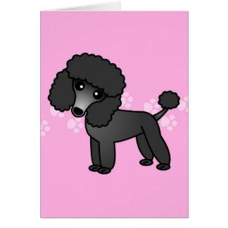 Niedlicher schwarzer Pudel-Cartoon - rosa Pawprint Karten