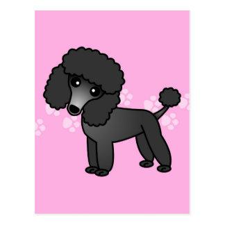 Niedlicher schwarzer Pudel-Cartoon - rosa Pawprint Postkarten