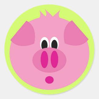 Niedlicher Schwein-Aufkleber Runder Aufkleber