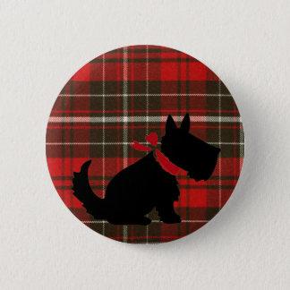 Niedlicher Scotty Hund u. roter Tartan Runder Button 5,1 Cm