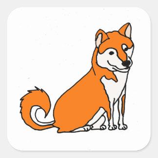 Niedlicher Shiba Inu HundeCartoon Quadratischer Aufkleber
