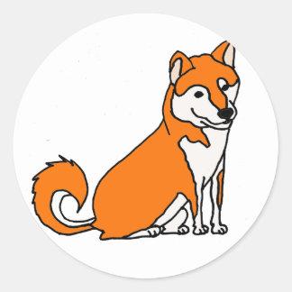 Niedlicher Shiba Inu HundeCartoon Runder Aufkleber