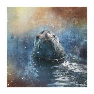 Niedlicher Siegel-Seelöwe-FotografieWatercolor Leinwanddruck