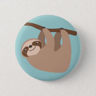 Niedlicher Sloth auf einer Niederlassung Runder Button 5,1 Cm