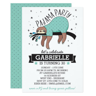 Niedlicher Sloth Erwachsene Pyjama Party Einladung