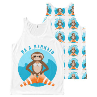Niedlicher Sloth ist eine Meerjungfrau Komplett Bedrucktes Tanktop