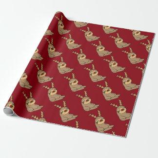 Niedlicher Sloth mit Ren-Geweih-Weihnachtskunst Geschenkpapier