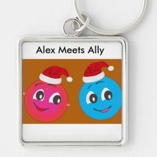 Niedlicher smiley Alex und Verbündeter Silberfarbener Quadratischer Schlüsselanhänger