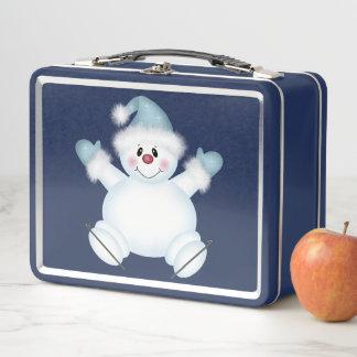 Niedlicher Snowman-blauer Metallmittagessen-Kasten Metall Lunch Box