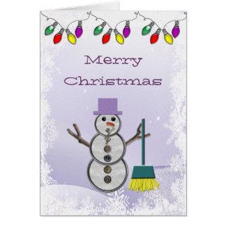 Niedlicher Snowman mit Besen-Weihnachtskarte Karte