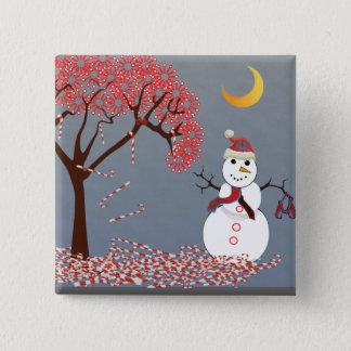 Niedlicher Snowman Quadratischer Button 5,1 Cm