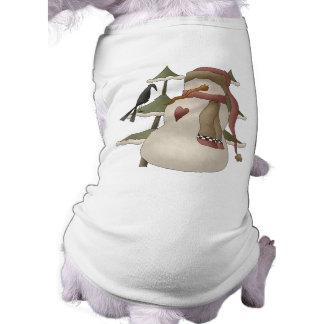 Niedlicher Snowman-und Krähen-WeihnachtsHundeshirt T-Shirt