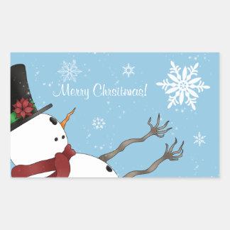 Niedlicher Snowman und Schneeflocken der frohen Rechteckiger Aufkleber