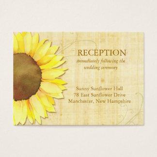 Niedlicher Sonnenblume-Hochzeits-Empfangs-Einsatz Visitenkarte