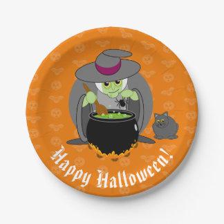 Niedlicher Spaß-Cartoon einer grünen bösen Hexe Pappteller
