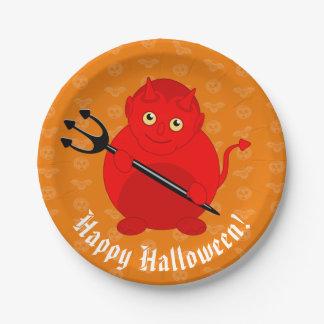 Niedlicher Spaß-Cartoon eines roten Teufels Pappteller
