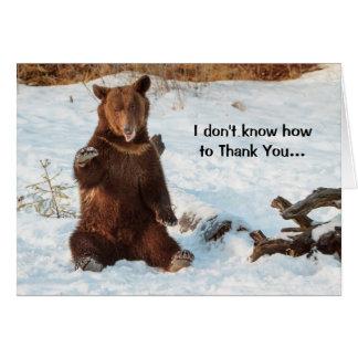 Niedlicher sprechenbär danken Ihnen Karte