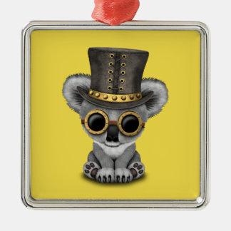 Niedlicher Steampunk Baby-Koala-Bär Quadratisches Silberfarbenes Ornament