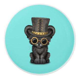 Niedlicher Steampunk schwarzer Panther CUB Keramikknauf