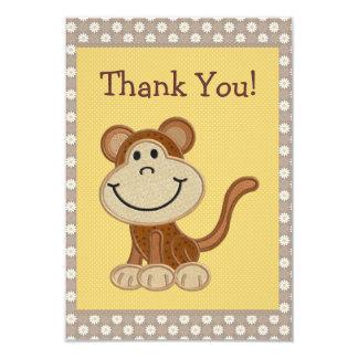 Niedlicher Stickerei-Affe danken Ihnen Baby-Dusche 8,9 X 12,7 Cm Einladungskarte