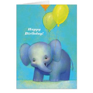 Niedlicher strukturierter Baby-Cartoon-Elefant mit Karte