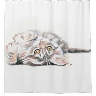 Niedlicher Tabby-Maine-Waschbär-KätzchenWatercolor Duschvorhang