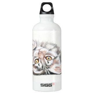 Niedlicher Tabby-Maine-Waschbär-KätzchenWatercolor Wasserflasche