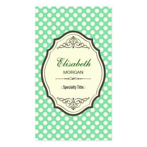 Niedlicher tadelloser grüner Polka-Punkt-eleganter Visitenkarten Vorlagen