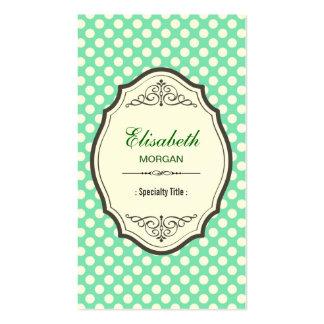Niedlicher tadelloser grüner Polka-Punkt-eleganter Visitenkarten
