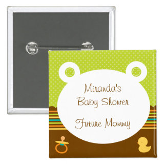Niedlicher Teddy-Bärn-Baby-Duschen-Knopf Quadratischer Button 5,1 Cm