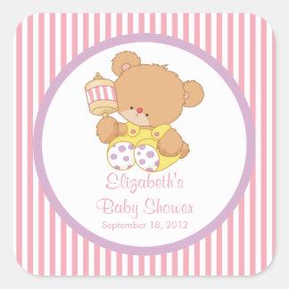 Niedlicher Teddy-Bärn-Baby-Duschen-Quadrat-Aufkleb