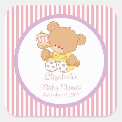 Niedlicher Teddy-Bärn-Baby-Duschen-Quadrat-Aufkleb Quadratsticker