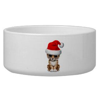 Niedlicher Tiger CUB, das eine Weihnachtsmannmütze Napf