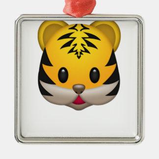 Niedlicher Tiger Emoji Silbernes Ornament