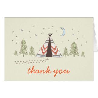 Niedlicher Tipi danken Ihnen zu kardieren Karte