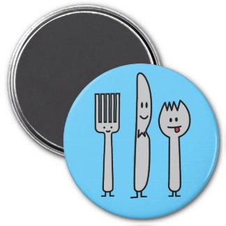 Niedlicher Tischbesteck-Gerät-Gabel-Messer Spork Runder Magnet 7,6 Cm