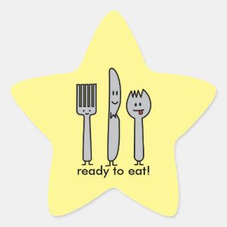 Niedlicher Tischbesteck-Gerät-Gabel-Messer Spork Stern-Aufkleber