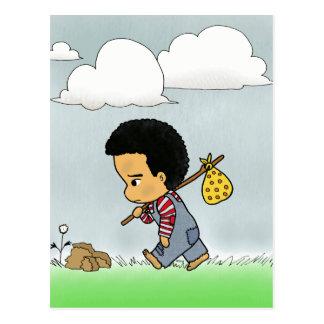 Niedlicher trauriger Junge Postkarte