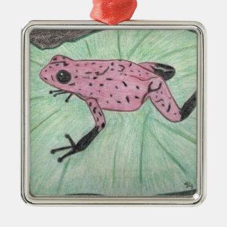 Niedlicher und bunter Frosch Silbernes Ornament