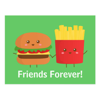 Niedlicher und glücklicher Burger und Fischrogen, Postkarte