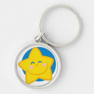 Niedlicher und lächelnder Stern, für Baby-Jungen Silberfarbener Runder Schlüsselanhänger